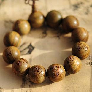 Wholesale Tibetan Jewelery Green sandalwood Carved statues Chunky Bead Buddha Bracelet 20mm Men Lucky Gift Religion Charm