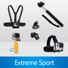 Monopod Tripod Mount Adapter + Float Bobber Stick + Chest Belt Head Strap For Gopro Hero 4 3 SJ4000 Xiaomi yi Camera Accessories