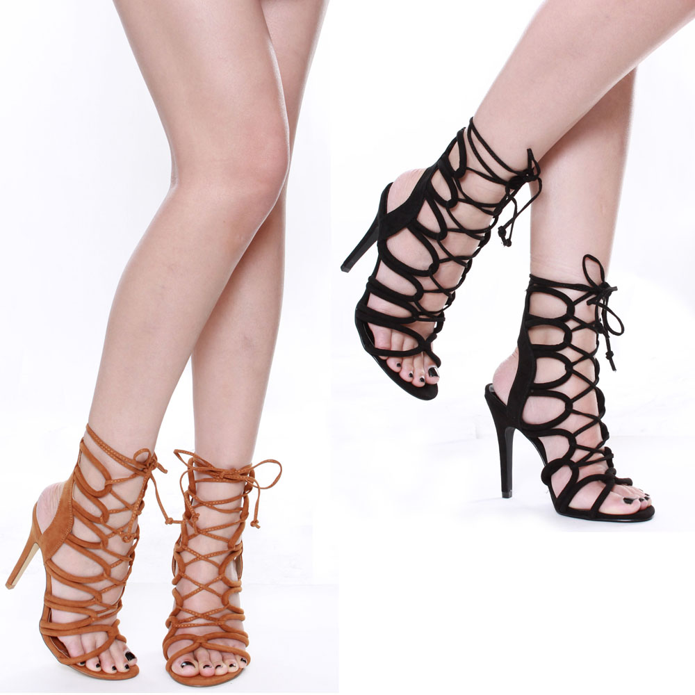 Strappy Lace Up High Heels