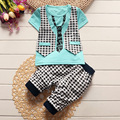 2017 summer baby boys clothing set toddler children sport suit tops pants lattice gentleman tracksuit kids