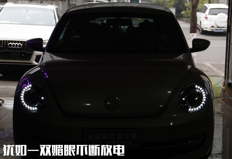 Auto Clud For VW Beetle headlights 2013-15 for VW Beetle LED DRL light bar xenon Q5 bi xenon len parking headlamps car styling