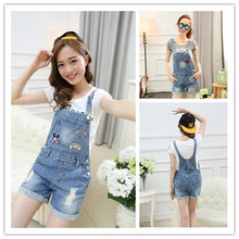 2016 plus size mouse summer lady loose ripped denim overalls casual denim shorts pants suspenders Jumpsuits Rompers women jeans