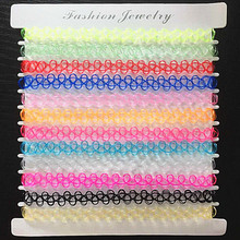 12 colors 12 Pcs/pack Tattoo Choker Necklace Vintage Stretch Quarz Necklace Elastic Henna Gothic Punk Elastic Women jewelry