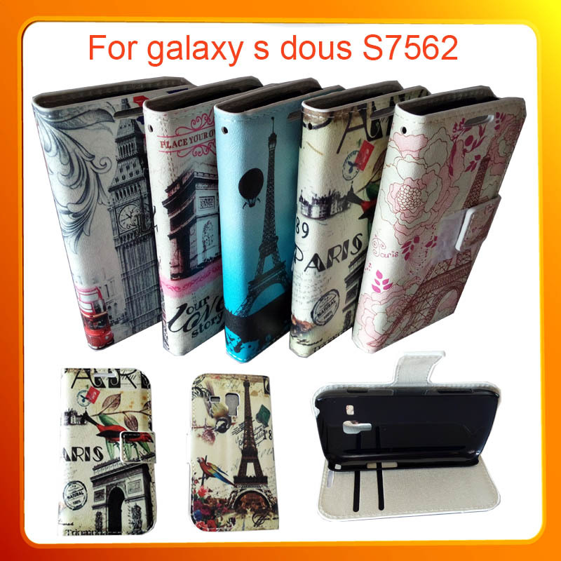Mobile Phones 7562 Cases Smartphone Retro Eiffel Tower PU Leather Flip Cover Case Samsung Galaxy S Dous Trend Duos S7562 - Livenus Store store