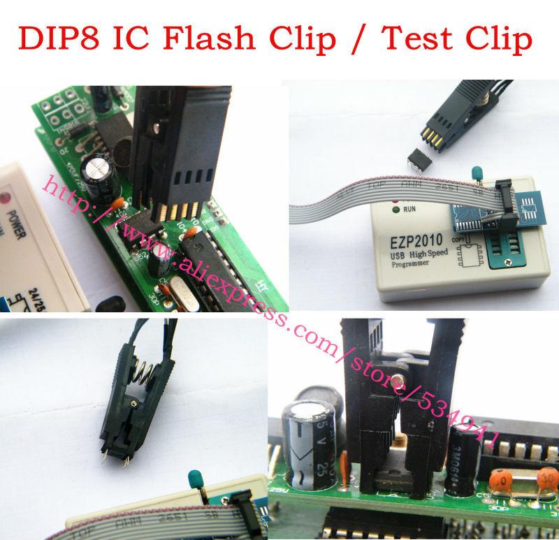 DIP8 IC test Clip IC flash clip For BIOS 93/25/24 SOIC8 SOP8 IC Test Clip TL866CS TL866A EZP2010 EZP2013 RT809F Programmer USe(China (Mainland))