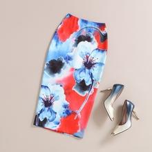 Pencil Skirt 2016 Summer Autumn Women High Waist Slim Hips Stretchy Floral Print Saias Feminino Lady Classic Midi Office Skirts