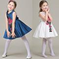 Fashion 2016 Summer Embroidery Flower Brand Designer Bow Clothing Girls Dresses Tutu Vestidos Kids Clothes Princess