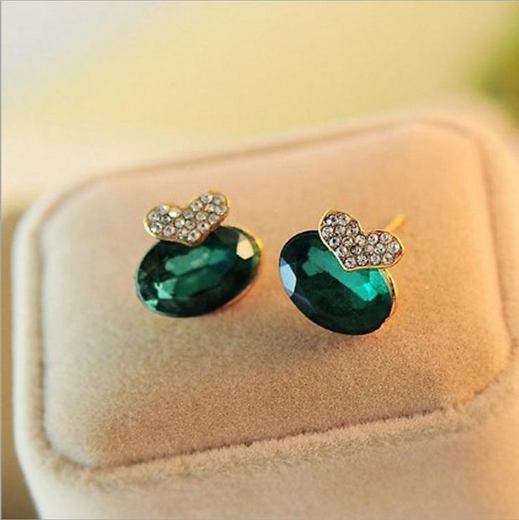 Top Sale Cute Girls Elegant Heart Earrings Green Rhinestone Crystal Earrings For Women Stud Earrings(China (Mainland))