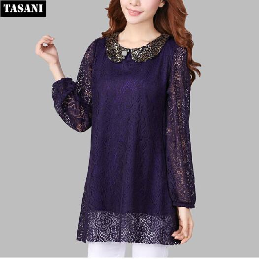 Autumn Winter Casual Women Dress Fashion Long Sleeve Hollow Lace Loose Plus Size Slim Basic Dresses Woman - TASANI store