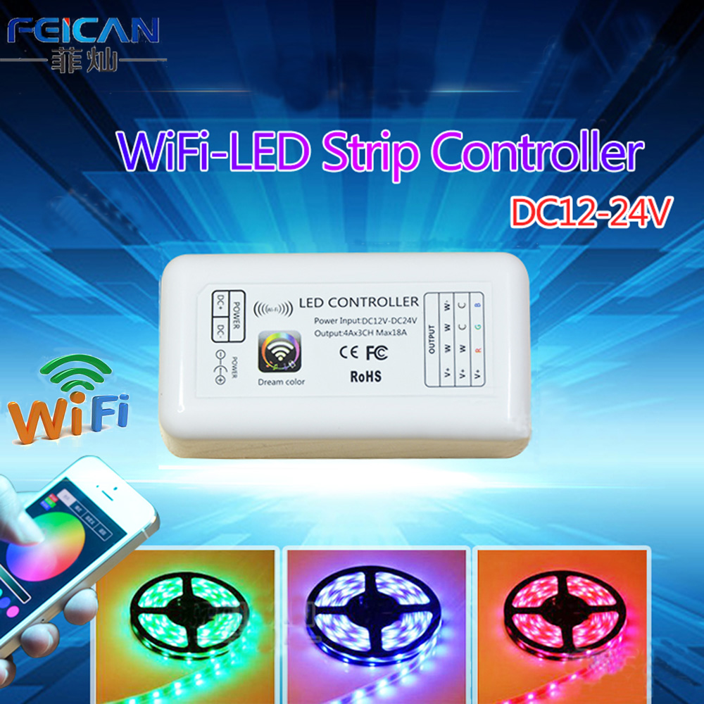 DC12-24V Mini RGB Wifi LED Controller 3Channel Controller By Android and IOS APP For SMD3528 5050 LED Strip Light Free shipping(China (Mainland))