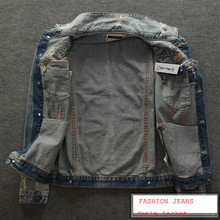 2015 New Arrival Europea Stylish Denim Rivet Jacket Coat Fashion Popular Brand Casual Jacket Men Clothing