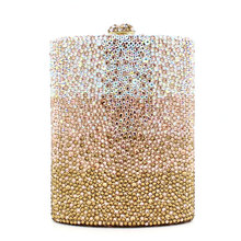Gold Leather Elegent Women Bling Crystal Diamond Clutch Famous Star Evening Bag Shoulder Snake Chain Party Meeting Purse 369x(China (Mainland))