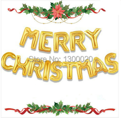 """Promotional discounts 14pcs/lots wholesales New Year """"merry christmas"""" letter balloon(Gold) party decoration Free shipping(China (Mainland))"""