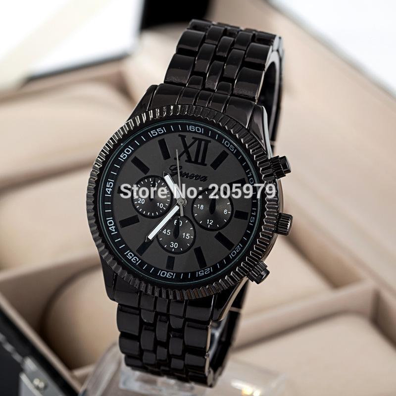 2016 New Fashion Business Men Watches Geneva Brand Watch Black Stainless Steel Mens Women Watch Relogios Masculino(China (Mainland))