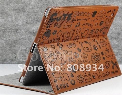 Wholesale *100pieces/lot * New Leather Happy Bloom Love Pretty Cute Case with Stand For new iPad 3 iPad2