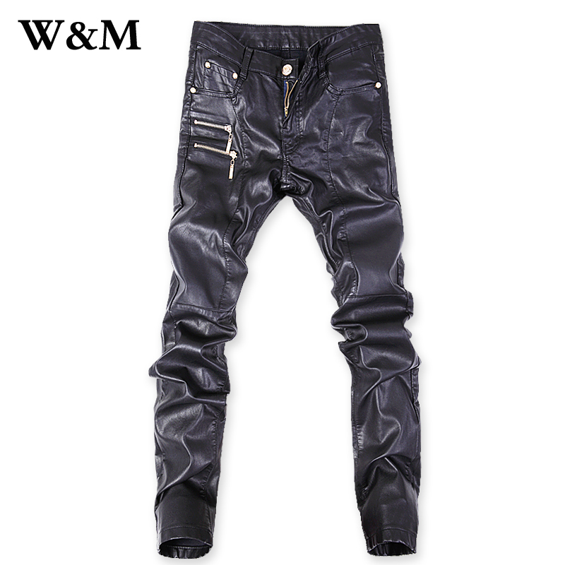 2015 New Fashion Mens Skinny Spliced Black Leather Pants