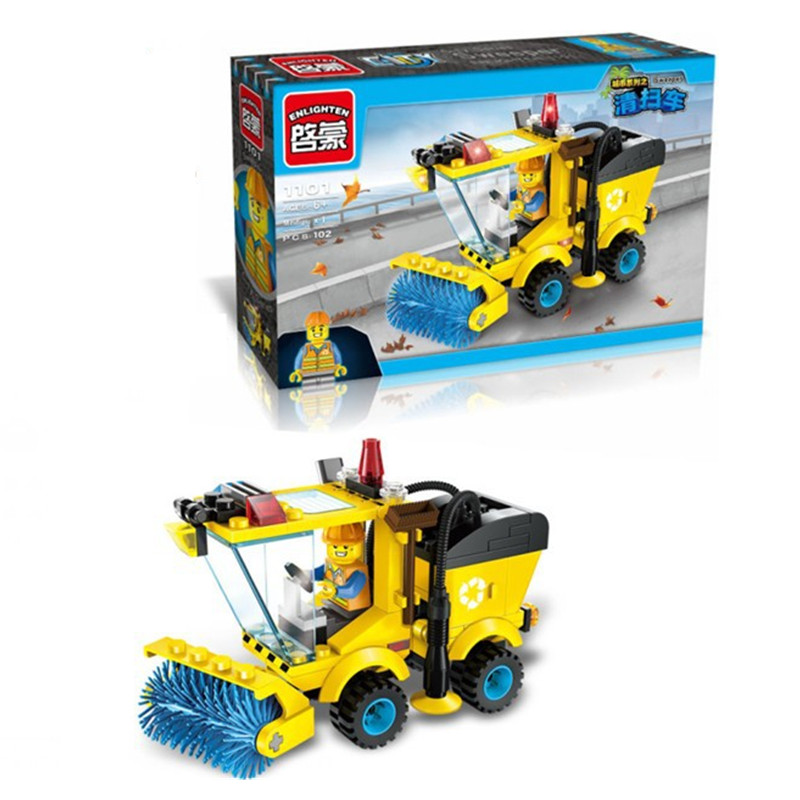 The Lowest Price In The Year !! Chinese New Year Clearance Cleaner Truck Building Blocks Toy Kit(China (Mainland))