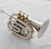 High Grade Silver Nickel Plated Bach Pocket Trumpet Large bell Bb Horn With Case(China (Mainland))