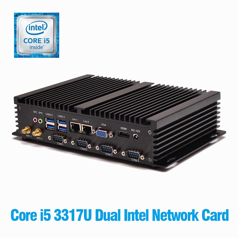 Mini-PC Windows Core i5 3317U Mini PC Dual LAN 2*Gigabit LAN Port Mini PC Windows 7 8GB RAM 256GB SSD PC Desktop Mini Server(China (Mainland))