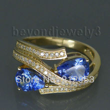 Vintage Two Stones Pear 5x7mm 14Kt Yellow Gold  Tanzanite Ring WU021(China (Mainland))