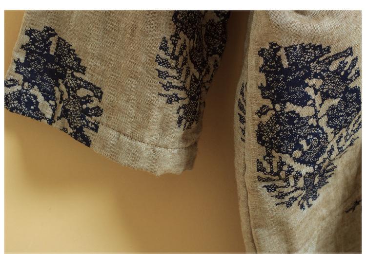 Скидки на Китайских Женщин Хлопок Старые Листья Печати Цветы Пальто Jackerts Отложным Воротник Плиты Кнопки С Длинным Рукавом Этническая Одежда