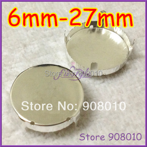 Round Metal Claw Setting Silver Closed Back For Sewing On 1216,1122 Rivoli Fancy Stone 6/8/10/12/14/16/18/20/25/27mm(China (Mainland))
