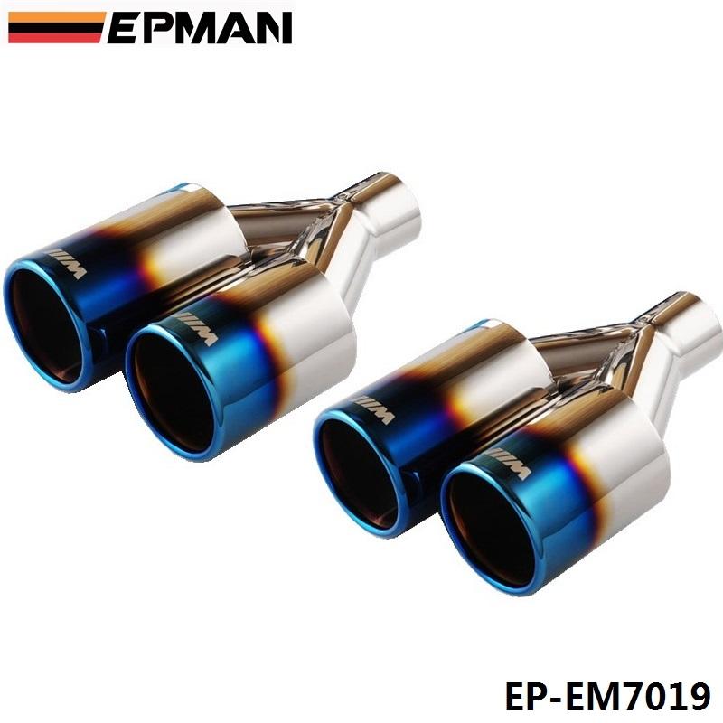 EPMAN 2pcs/set Caliber 4.8cm Universal 304 Stainless Steel Chrome Exhaust Muffler Tip Blue 2pc EP-EM7019<br><br>Aliexpress