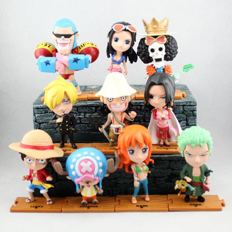 One Piece Japanese Anime Luffy Zoro Sanji Chopper Onepiece New World Straw Hat Pirates Action Figure Toys 10PCS PVC Model 0034(China (Mainland))