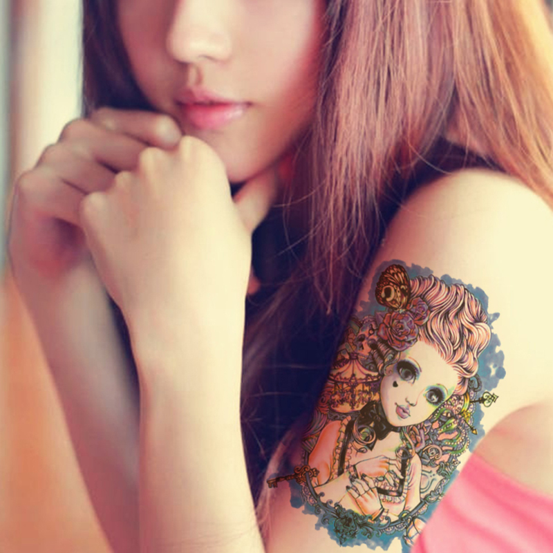 Transfer Tattoo Halloween Horror Skull Beauty Girl Rose Designs Temporary Tattoo Fake Stickers Paste Tattoo Sticker For Body(China (Mainland))