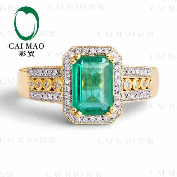 Caimao 1.96 ст натуральный изумруд 18kt / 750 желтое золото 0.60 ст полный cut бриллиантовое обручальное кольцо ювелирные изделия драгоценный камень колумбийский