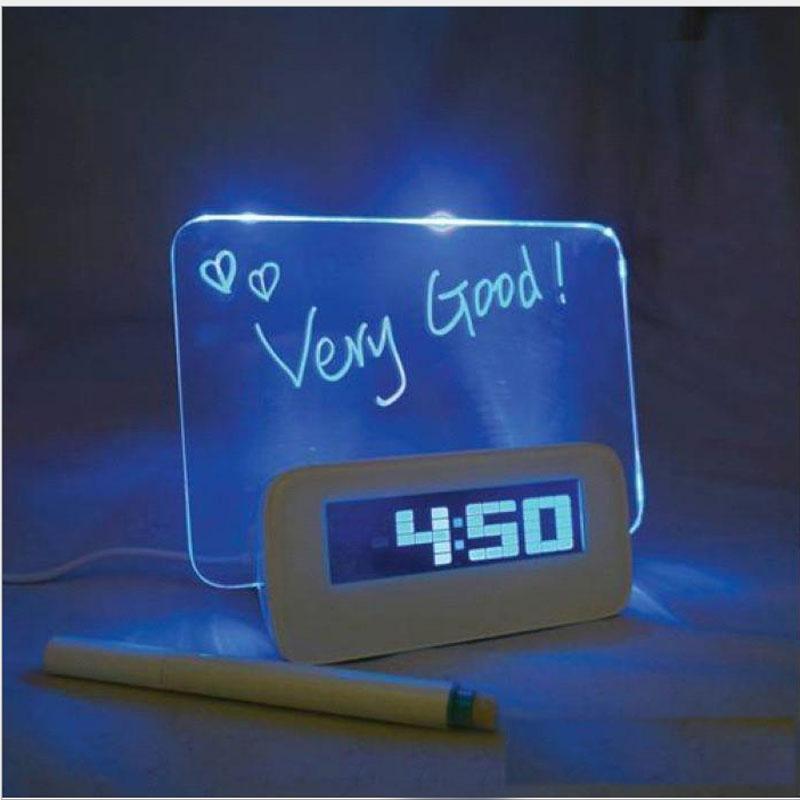 Blue LED Fluorescent Message Board Digital Alarm Clock 4 Hub Calendar Night light - TOPSUN GIFT&TOYS CO.,LTD store
