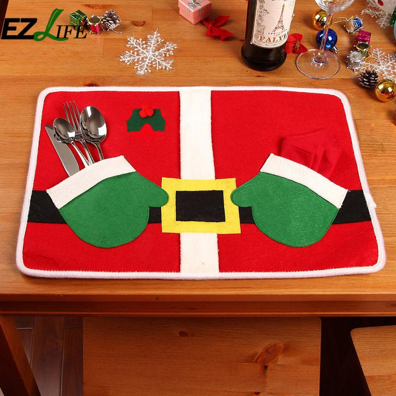 Christmas placemat hands Christmas Santa Claus Costume Table Placemat Hand Bags Table Placemats Setting Mat CutleryHolderZH01200(China (Mainland))