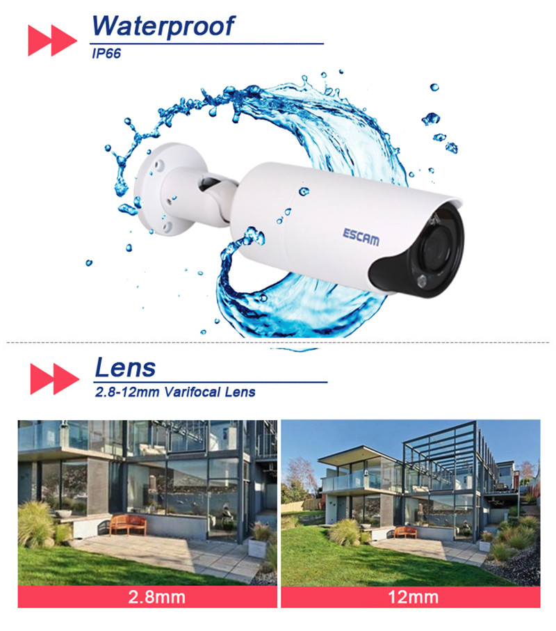 High Quality Varifocal 2.8-12mm lens POE 1080P 2 Megapixels Camera IR-Bullet Email Photo Alarm Security Surveillance Camera J647