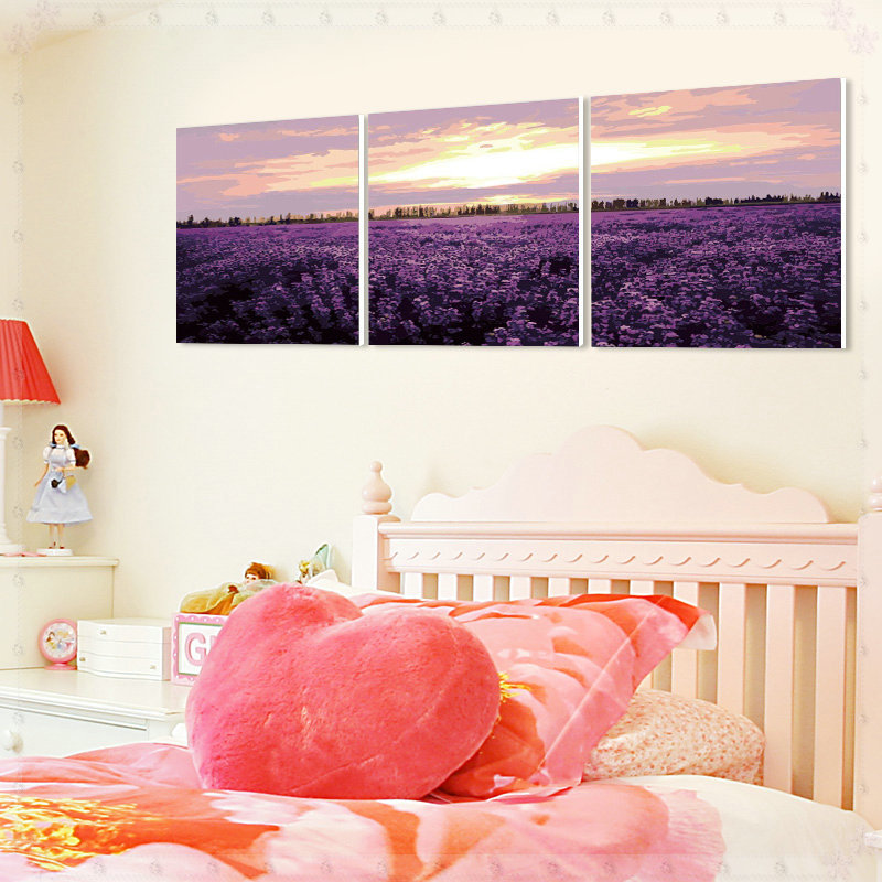 DIY Digital Oil Painting Wall Art Decorative Painting Combination of Paint 3 Panel Purple Love Sea Print on Canvas Frameless col(China (Mainland))