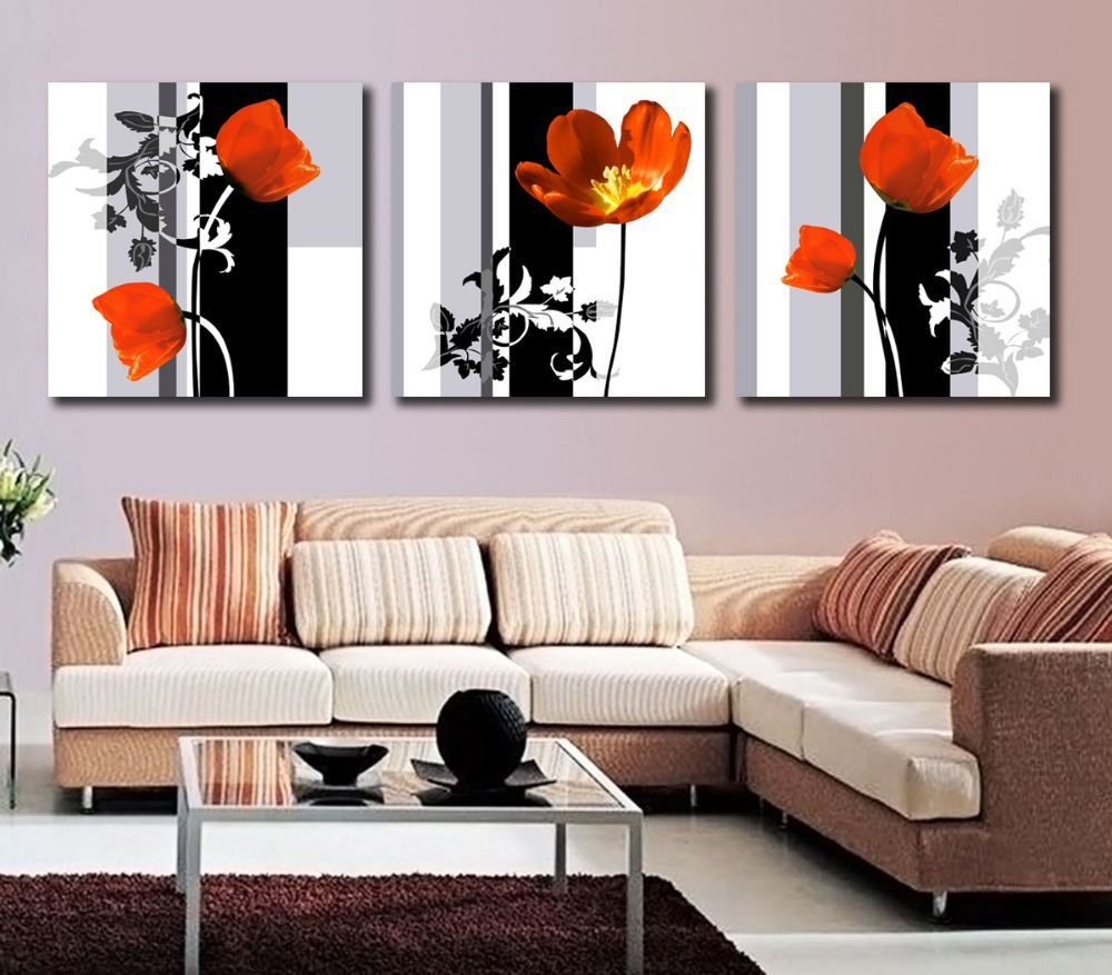 Free shipping Canvas art 3 panel Flower wall canvas paintings Floral wall art Paintings for living room wall Home decoration(China (Mainland))