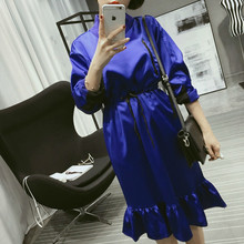 [soonyour ] 2016 Autumn New korean Solid Color Rope adujst Waist Satin Face Long Sleeve Fish Tail Dress women fashion HAO1415