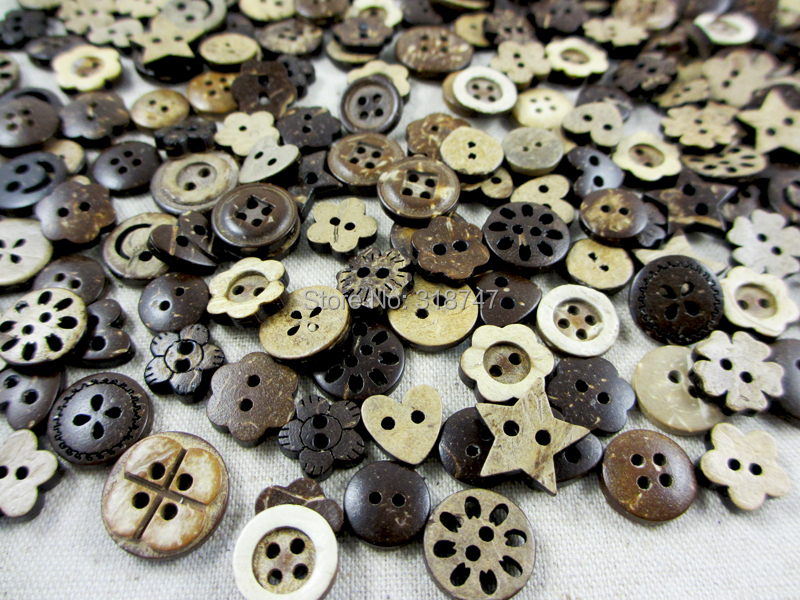48pcs 10-15mm Coconut Shell Buttons 004002040(China (Mainland))
