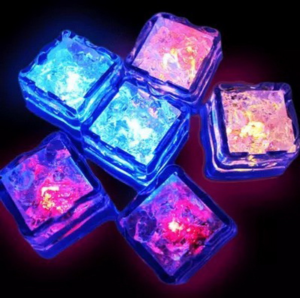 by dhl or ems 600pcs LED Ice Cubes,7 Color Change LED Flash Light LED Luminous Ices for Event Party Kids Gift(China (Mainland))