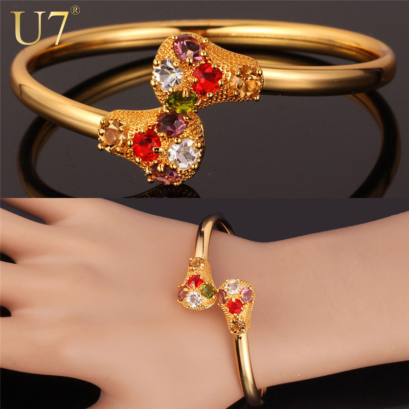 Colorful Crystal Bracelets Women Real 18K Gold/Platinum Plated Jewelry Wholesale Rhinestone Cuff Bracelets & Bangles H638(China (Mainland))