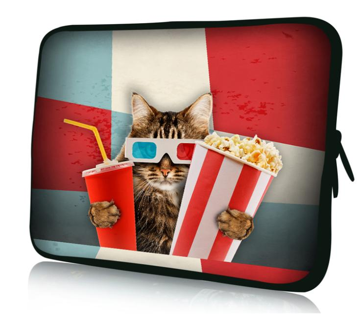 "2014 New Arrive 7"" Inch Notebook Sleeve Personality Print Cat watching movies Computer Bag Laptop Cover Tablet PC Skin(China (Mainland))"