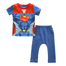 2016 New Superman baby Boy Pajamas Summer Cotton Cartoon Kids Sleepwear Clothes Set Kids Baby Clothing T-shirt + Pants 2pcs(China (Mainland))