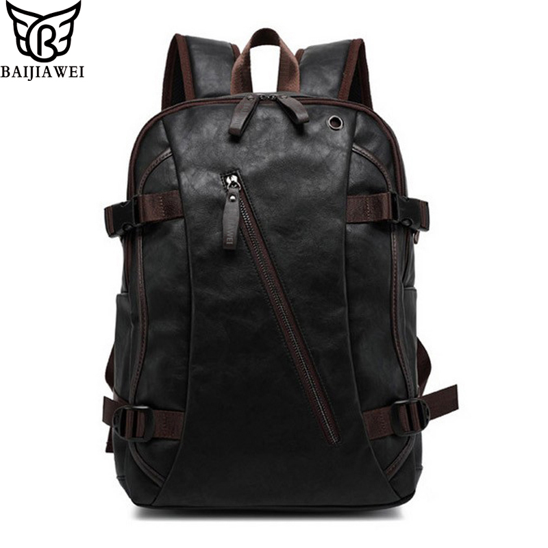 BAIJIAWEI Mix Oxhide Leather Backpack Mix Cow Leather Men's Casual Backpack & Travel Bags College Style Bag Mochila Zip(China (Mainland))