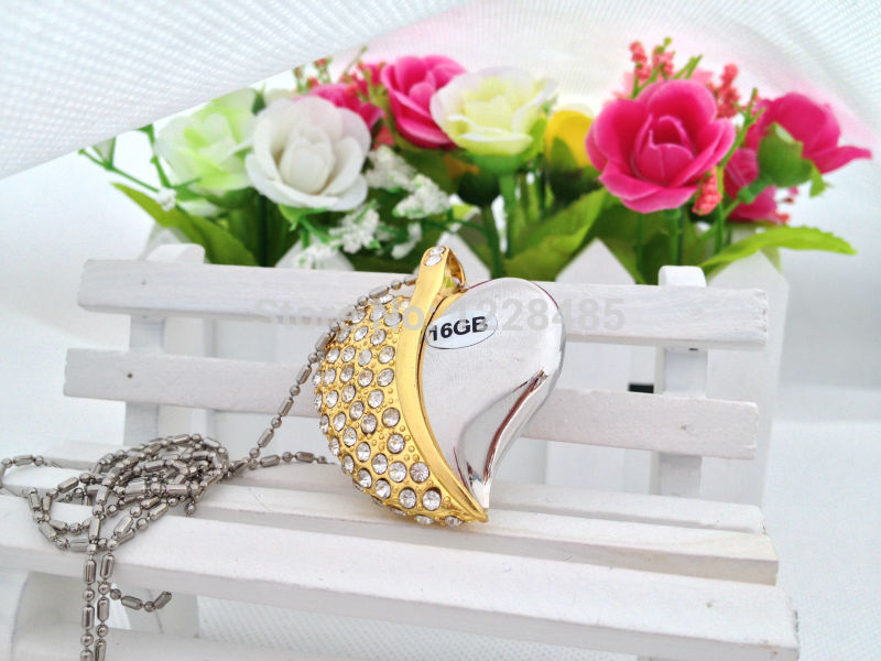 hot sale crystal metal heart shaped usb flash drive best gift for her 8gb 16gb 32gb 64gb memory stick u disk thumb pen drive S29(China (Mainland))