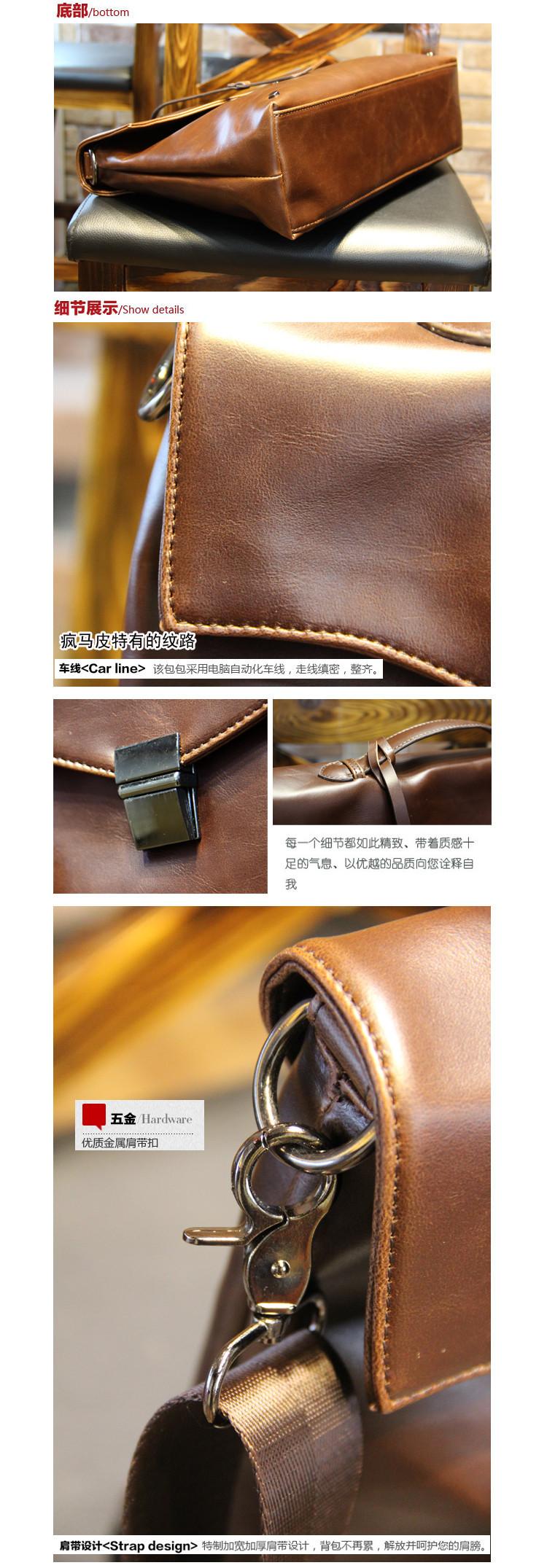 Fashion Briefcase Men Messenger Bags Horse Leather Men Handbags