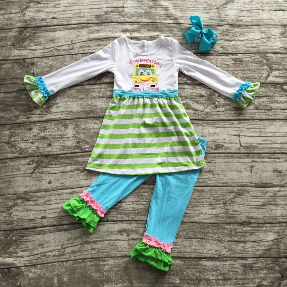 Back to school Full outfit baby clothes kindergarten school bus green blue striped ruffle yellow pants girls with matching bow(China (Mainland))