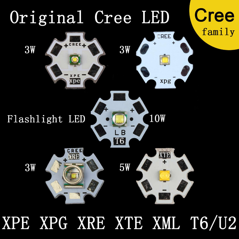 Original CREE Family MXL XM-L T6 XM-L2 / XP-E R3 / XR-E Q5 / XP-G2 R5 / XT-E R5 LED Flashlight light Bulb Chip With 20mm Base(China (Mainland))