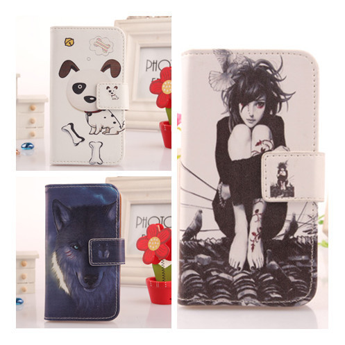 6 Piece/Lot Colored Drawing Flip PU Skin Leather Shell Book Design Card Slot Protect Case Cell Phone Bag For Fly IQ255 Pride(China (Mainland))