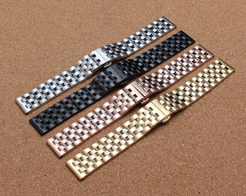Металл Черный и серебро ремешок для часов умные аксессуары 20 мм 22 мм высокое качество металла нержавеющей стали ремешок мода