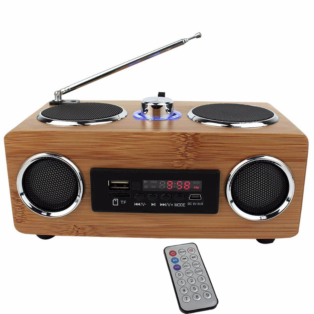 bass stereo fm radio bamboo multimedia speaker tf card usb fm radio mp3 player remote. Black Bedroom Furniture Sets. Home Design Ideas