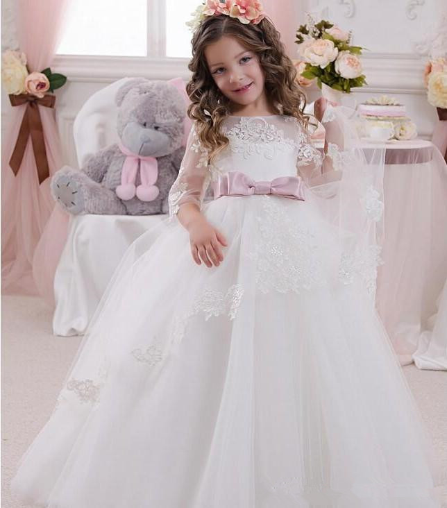 Cute-Ball-Gown-Flower-Girls-Dresses-For-Weddings-With-Sheer-Neck-3-4-Sleeves-Bowknot-Cheap